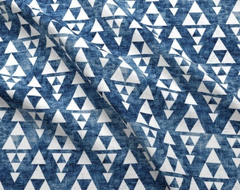 Tribal Triangle Fabric - Stacked Navy By Holli Zollinger - Native Peace Tie Dye Effect Woven Look Cotton Fabric By The Yard With Spoonflower