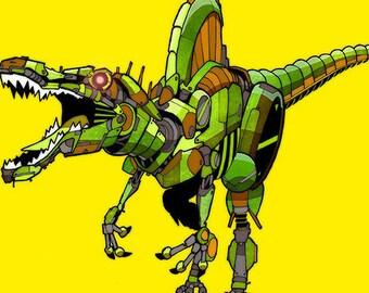 Spinosaurus Robosaur art print 8x10