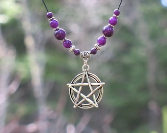 Pentacle necklace with purple glass beads / #087