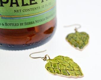 NEW - Etched Hop Earrings 1 - Beer Diva Beer Jewelry - Hop Jewelry - Beer Gear - Beer Geek Gift