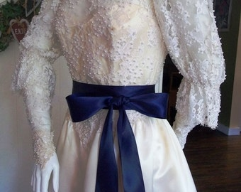 "Navy Blue Satin Ribbon Sash, Wedding Sash Belt, Bridal Bridesmaid Sashes, Flower Girl Sash in Luxe Double Faced Satin, 2.25"" by 4 yards"