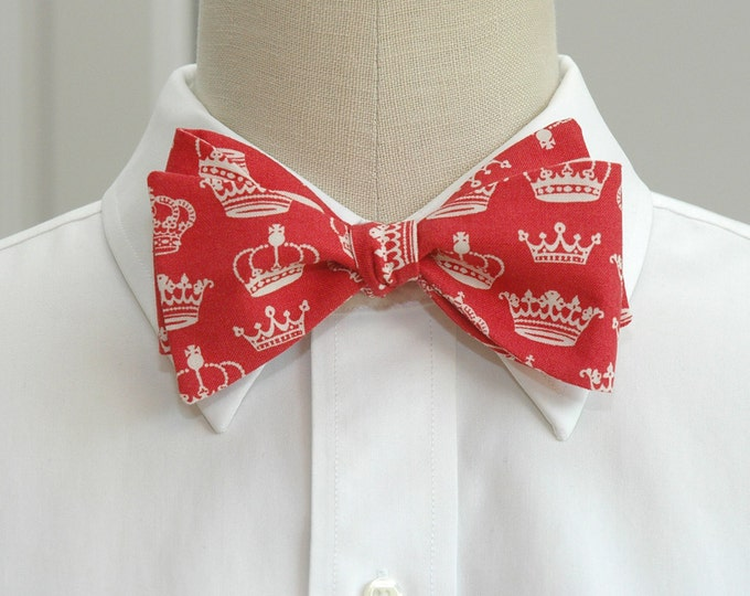 Men's Bow Tie, red with ivory crowns, self tie, red royalist bow tie, English fan gift, wedding party bow tie, groom bow tie, monarchist tie