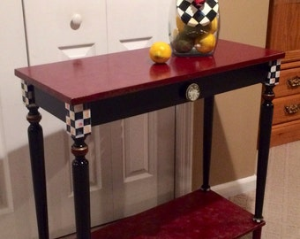 Whimsical Painted Furniture, Hand Painted Console Or Sofa Table Black White  Check Marbled Custom Burgundy Gold Blackpainted Furniture