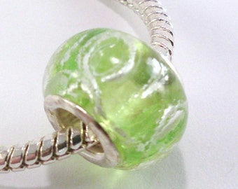4 green lampwork with silver pattern (22) European bead