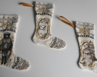 Vintage Look Christmas Stocking, miniture christmas stockings, embroidered christmas stockings, handmade christmas stockings