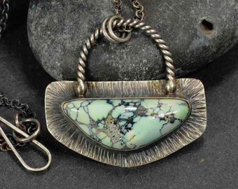 sterling Turquoise Necklace, Damale, Boho, Statement Necklace, Metalsmith Jewelry