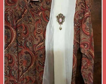 Complete set 3 pieces Vintage Liz Claiborne dress Size 12 paisley pattern  a sashay  and Scarf Vintage and Sarah Converty Brooch