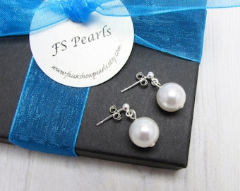 loading classic new faux is elegant round image popular s itm extra pearl stud earrings large