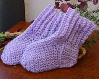 Purple Baby Socks - Purple Baby Crew Socks - Lavender Baby Socks - Lavender Baby Crew Socks - Purple Baby Slipper Socks - 0-3 months