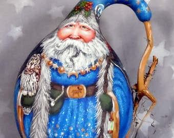 """Wizard Santa, magical robes, gourd art, hand painted on of a kind, 7 3/4"""" tall x 6"""" wide"""