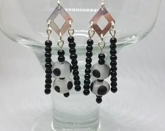 Diamond Black and White Chandelier Earrings