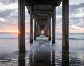 California Landscape Photography Print - La Jolla Pacific Coast - Scripps Pier - Mounted / Hanging Options - 11x14 16x20 20x30 24x36 30x45