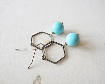 Hexagon Hoop Earrings, Light Blue Turquoise Earrings, Amazonite Gemstone Earrings, Modern Hoops, Blue Bead Earrings, Teal, Honeycomb Hoops