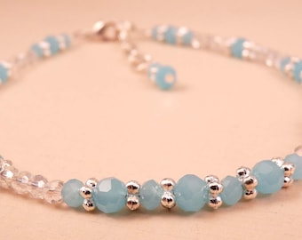 Crystal Anklet Beaded Anklet Crystal Ankle Bracelet Blue Anklet Crystal Jewelry Aqua Jewelry Beaded Jewelry