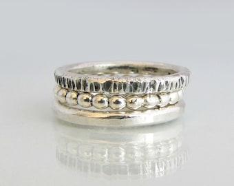 Silver Band, Set of 3 Stacking Rings, 3rd Anniversary Gift, Silver Stacking Ring, Hammered Silver Ring, Wedding Bands Women, Bohemian Rings