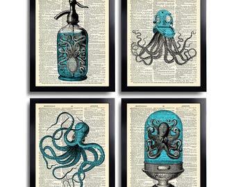 Octopus Print Set of 4 Prints Squid Gift Set Poster Bathroom Wall Decor Sea Life Poster Octopus Nautical Squid Drawing Squid Art Print 589
