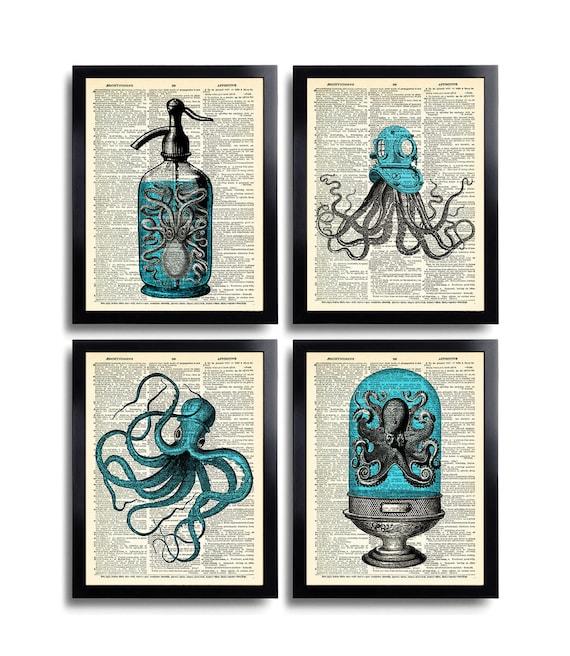 Bathroom Art Print Set Of 4: Octopus Art Print Set Of 4 Prints Squid Gift Set Bathroom Wall