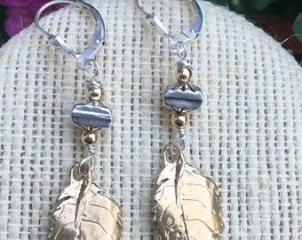 Bronze & sterling silver leaf earrings