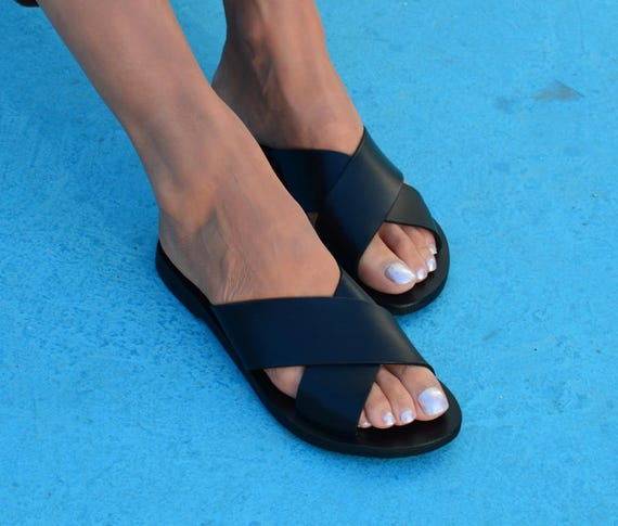 Sandals Black Black Greek Sandals Leather Cross Black Leather Sandals Flipflops Slides Criss gU4wwZxq