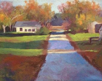 "Original Acrylic Landscape painting-  Morning Light -   9"" x 12"""