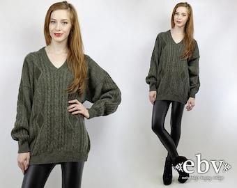 Oversized Sweater Oversized Knit Oversized Jumper Olive Sweater Leather Sweater Men's Sweater Chunky Knit Boyfriend Sweater Wool Sweater
