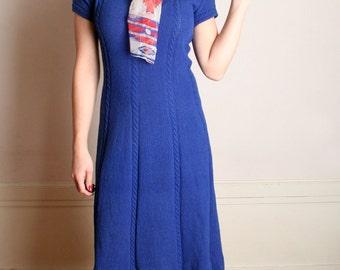 Vintage Knit Dress - Royal Blue Boucle Sweater Dress - Medium