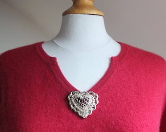 Authentic CHRISTIAN LACROIX brooch vintage silver plated heart