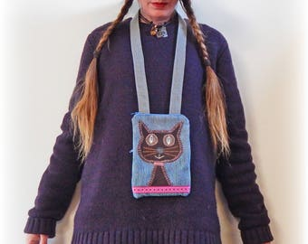 Neck Bag, Cat Purse, Cell Phone Case, Money Pouch, Cat Bag, Passport Holder, Travel Wallet, Security Purse, Zipper Purse, Recycled Upcycled