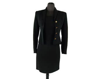 Vintage 1980s Barami Black 2-Piece Women's Suit / Jacket & Dress (Size 0)