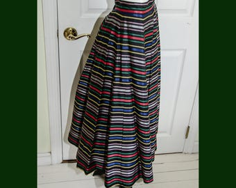 Vintage 1950's Rockabilly Rainbow Colored Striped Satin Skirt