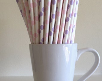 Pink and Purple Paper Straws Pale Pink and Lavender Polka Dot Party Supplies Decor Bar Cart Cake Pop Sticks  Graduation