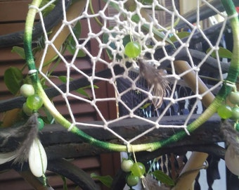 Handmade dream catchers with jade, no metal or plastic