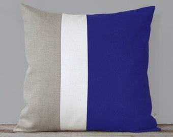 Color Block Pillow Cover (20x20) Coablt, Cream and Natural Linen by JillianReneDecor Nautical Home Decor, Colorblock Stripes, Snorkel Blue