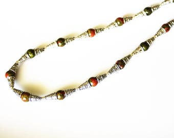 Ethnic necklace with silver cones and Unakite beads