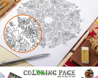 Printable Floral Mandala Coloring Pages Floral Coloring Page Adult Coloring Book AntiStress Art Therapy Instant Download Printable Wall Art