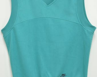 VIntage NIKE L 80s Fleece Pullover V Neck Vest Turquoise Green Blue