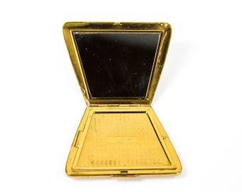 Elgin American Vintage 1950's 60's Brass Metal Make Up Cosmetic Powder Ladies Compact w/ Mirror