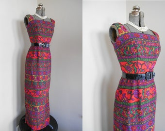 Vintage 1960s Dress - Small Geometric Maxi Dress   Empire Waist Floral in Red and Purple