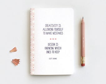 Inspirational Recycled Notebook with Pencil, Mini Large Midori Insert - Typography Quote, Creativity - Gift for Designers