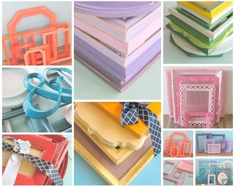 Ombre Gallery Wall Frame Collection/ Yellow, Blue, Aqua, Orange, Pink, Purple, Turquoise / Shabby Chic Picture Frame Set/ Distressed Frames
