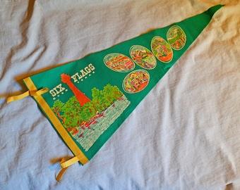 Vintage Six Flags Over Texas Pennant - Six Flags Souvenir, Texas Souvenir, 1970s, Green Felt