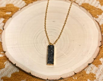 Black 18kt gold plated raw Agate Simple Necklace Free Shipping