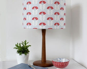 Pale Blue Elderberry Floral Fabric Lamp Shade Drum Lampshade Lightshade