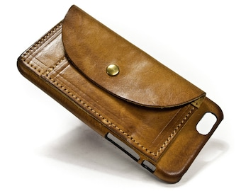 """NEW iPhone X 8 7 6S 4.7"""" or 6S PLUS 5.5"""" Leather Case handmade in Italy with 2 credit cards holders and a flap Device and Colour to CHOOSE"""