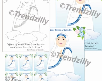 Mother Teresa of Calcutta Coloring Page and Holy Cards, Kids Coloring Page, Holy Cards, Feast Day Cards, Trading Cards, Printable Download.