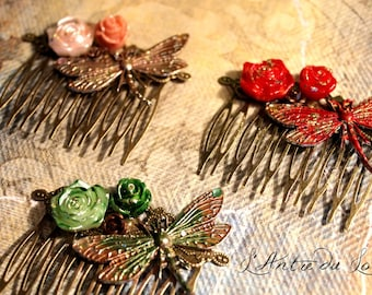 "Vintage hair comb Victorian faitaisie Dragonfly ""My heart is flying"" 3 versions"