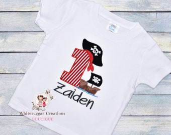 Pirate Birthday Shirt For Boys, Baby 1st Birthday, Embroidered, Personalized, Monogrammed, Second, Third, Birthday, Toddler, Outfit