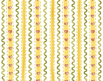 Wallpaper Stripe - Yellow 6725-44 by Henry Glass Cotton Fabric Yardage