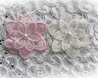 Reneabouquets Trim- 2 Layer Lace Flower Appliques Set Of 2 Choose Your Colors, Soft Pink, White or Mixed