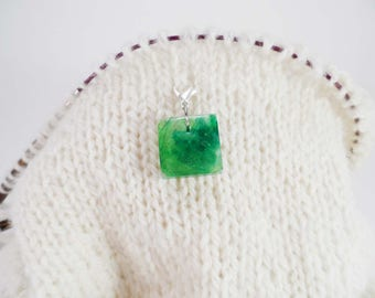 Bright Green Captured Fiber and Resin Square Stitch Marker
